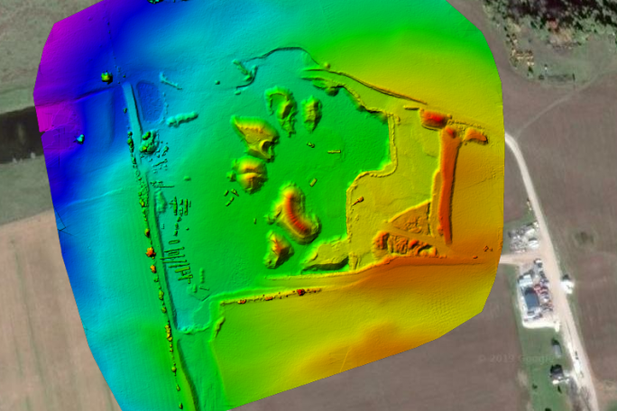 Aerial map with Digital Surface Model Overlay